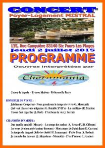 Programme du Concert du 2 juillet 2015