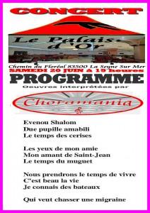 Programme du Concert du 20 juin 2015